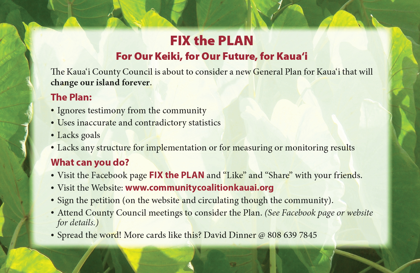 Fix the Kauai General Plan Flyer