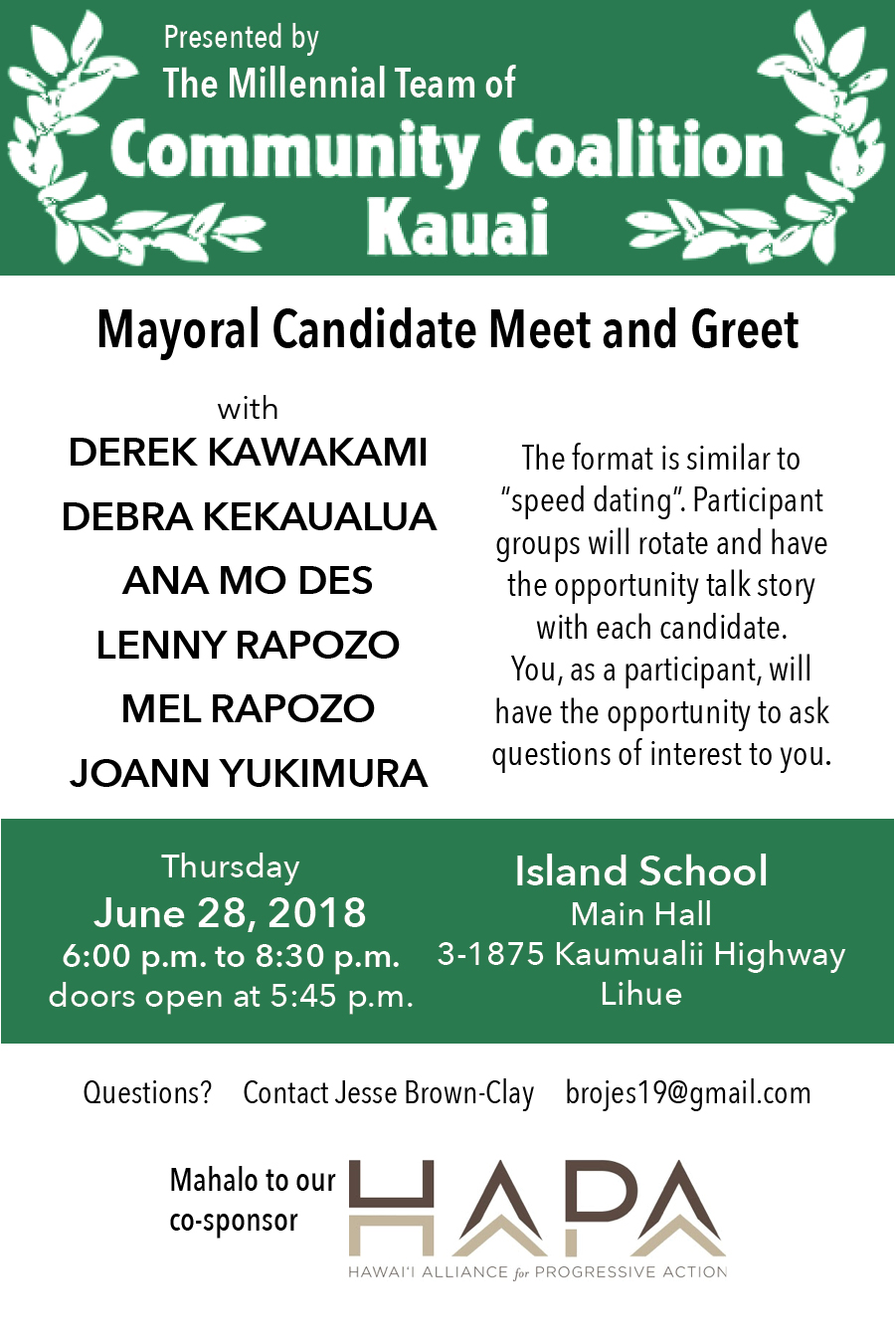 Kauai Mayoral Candidate Meet and Greet Flyer